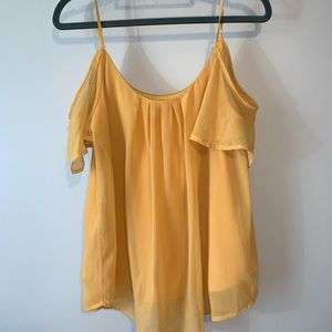 Lily White Cold Shoulder Yellow Shirt Size M